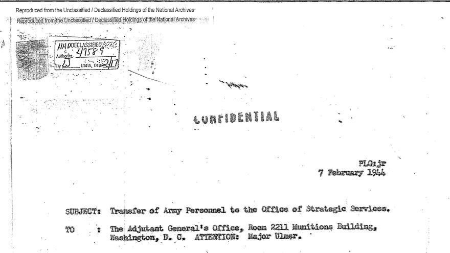 Orden de transferencia confidencial de Julio Eiguren a la OSS (Archivos Nacionales de EEUU, NARA).