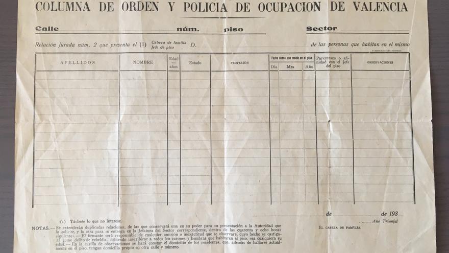 Tabla para fichar a las personas en cada domicilio de la Columna de Orden y Policía de Ocupación de Valencia