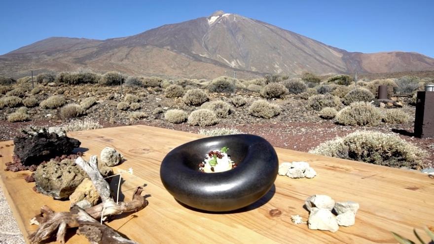 Imagen del postre elaborado por el repostero Rodríguez Dios en el Teide