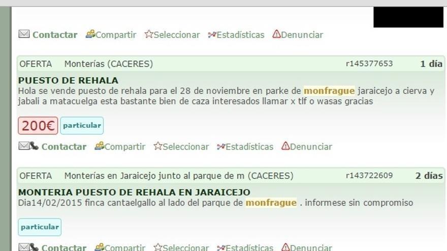 Reventa online de puestos para monterías en Monfragüe en un portal de información cinegética.