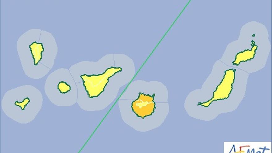 Mapa de riesgo por altas temperaturas de la Aemet para este jueves.