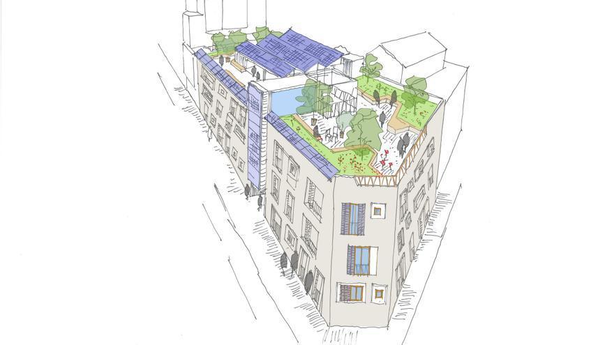 Dibujo del edificio que Entrepatios construirá en Usera. / Entrepatios