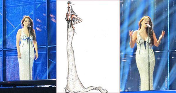 Ruth Lorenzo en el primer ensayo con el vestido que llevará en la final de Eurovisión. Al lado, el boceto de Anmargo | Imágenes: rtve