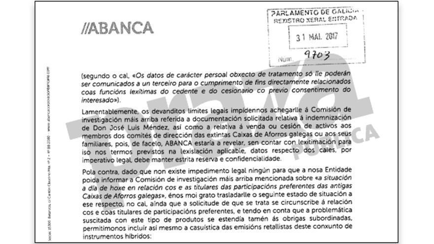 Fragmento de la carta remitida por Abanca al Parlamento de Galicia