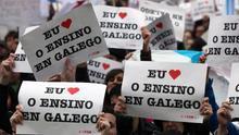 Manifestación a favor de la enseñanza en gallego