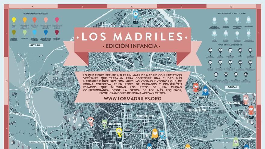 Un fragmento del mapa en papel de Los Madriles Infancia. / Intermediae