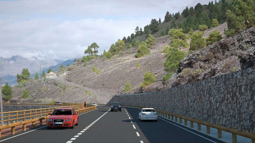 Recreación del nuevo trazado de uno de los tramos de la carretera LP-2 del sur de La Palma entre Bajamar y Tajuya.