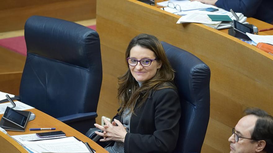 La vicepresidenta del Consell, Mónica Oltra, en les Corts