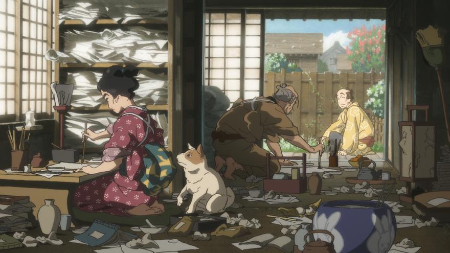 Fotograma de la cinta de animación Miss Hokusai
