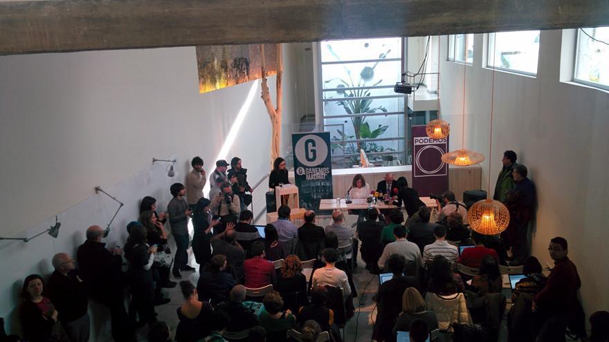 Rueda de prensa de Ganemos Madrid y Podemos. / A. R.