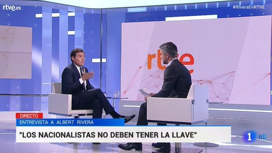 Albert Rivera, durante la entrevista en TVE