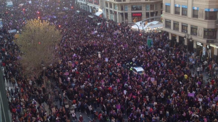 Vista aérea de la manifestación de Valencia