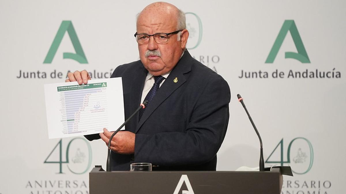 El consejero andaluz de Salud, Jesús Aguirre, tras el Consejo de Gobierno.