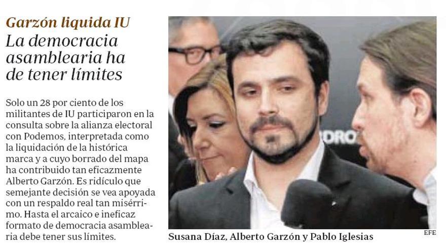 El editorial de ABC contra Garzón por el pacto con Podemos