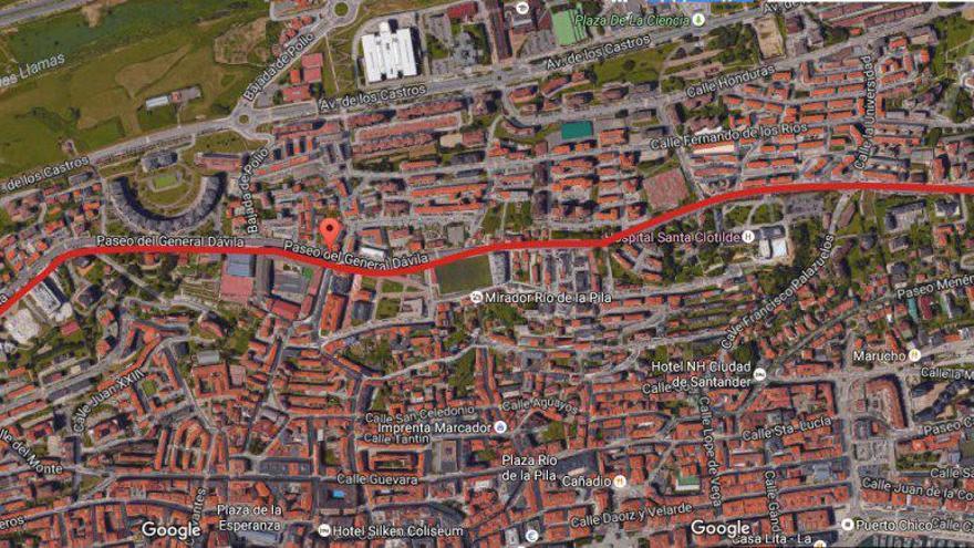 Imagen aérea de la calle General Dávila de Santander tomada de Google Maps.