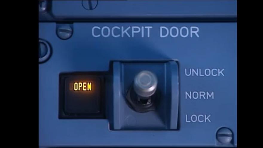 Mecanismo por el que se acciona el bloqueo de la puerta de la cabina