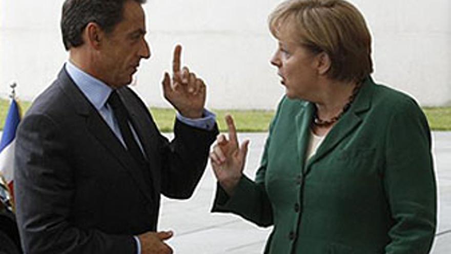 Nicolás Sarkozy y Ángela Merkel.