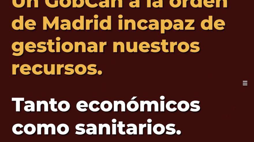 Pantallazo del vídeo de CC en el que critican la gestión del Gobierno de Canarias ante la crisis sanitaria por coronavirus.