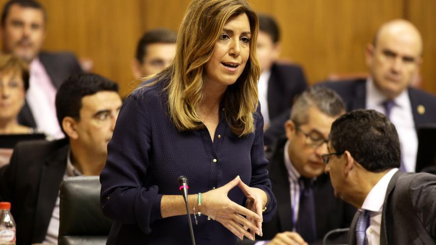 Susana Díaz en el pleno de noviembre de 2014.