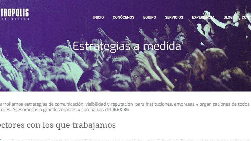 Captura de la página web de Metrópolis Comunicación.