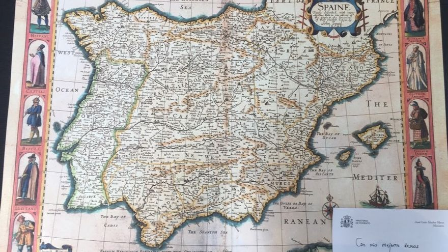 Mapa que se incluye en la felicitación del ministro José Luis Ábalos, de Fomento