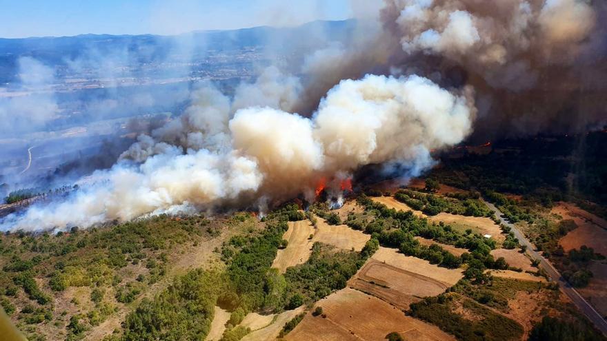 El incendio de Monforte, visto desde un helicóptero de los bomberos forestales de la Brif de Laza