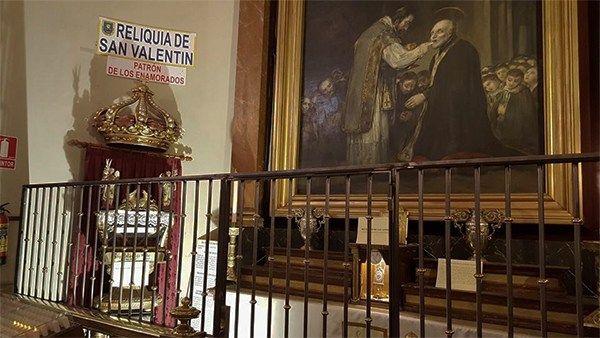Las reliquias de San Valentín en la Iglesia de San Antón   Fotografía: Mensajeros de la Paz