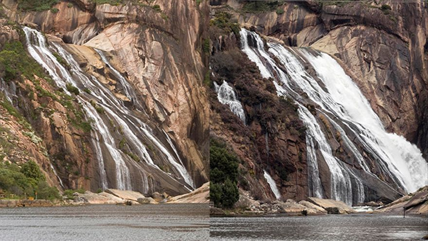 La cascada en 2005 y en 2017, después de que se anulase el permiso a Villar Mir.