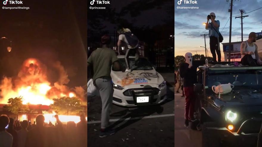Recopilación de capturas de pantalla de vídeos publicados en TikTok a raíz de las protestas por la muerte de George Floyd