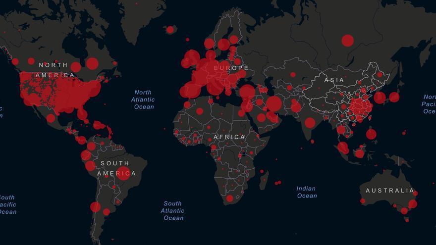 Casos acumulados de coronavirus en el mundo (mapa de la Universidad John Hopkins)