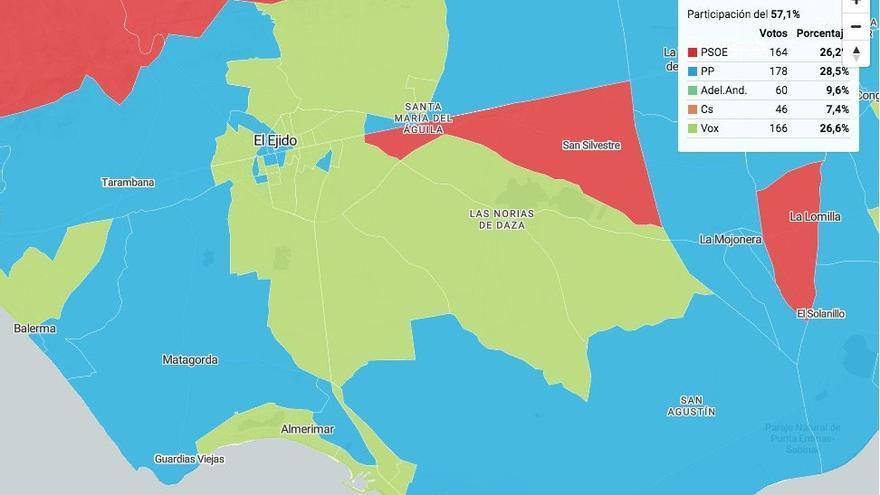 Mapa electoral de El Ejido según el partido más votado en cada colegio.