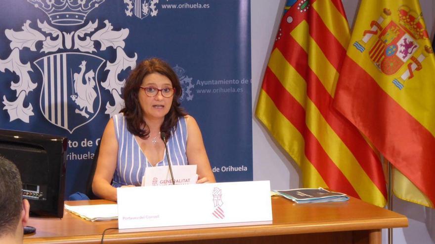 La vicepresidenta del Consell, Mónica Oltra, en la rueda de prensa del Ejecutivo desde Orihuela