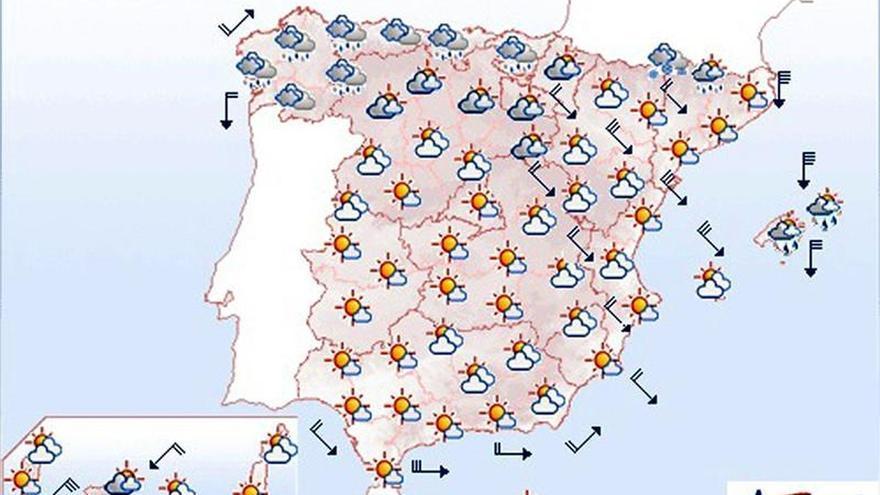 Mañana viento fuerte en el nordeste, Alborán, Baleares y Canarias