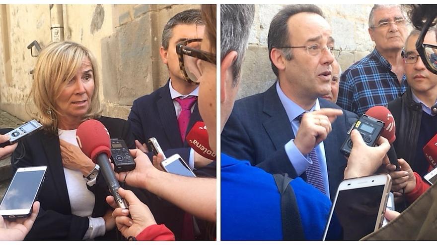 Los abogados de Mondragón (a la izquierda) y de los demandantes (a la derecha)
