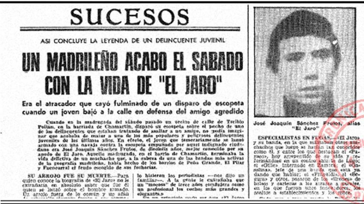 Recorte de prensa sobre la muerte de El Jaro