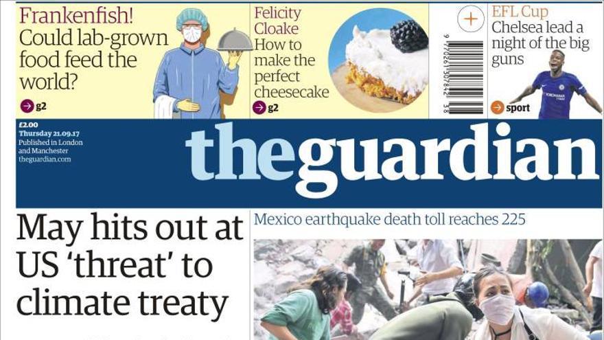 Portada del 21/09/2017 del diario británico The Guardian