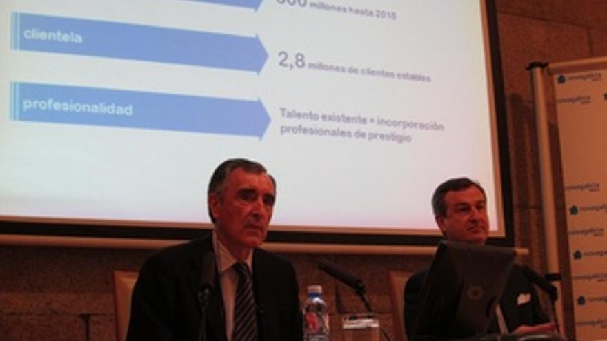 Castellano Y González-Bueno Durante La Presentación De Novagalicia Banco Y NGB