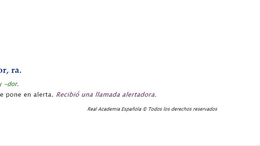 """Definición de """"alertador"""" del Diccionario de la Real Academia Española (RAE)."""