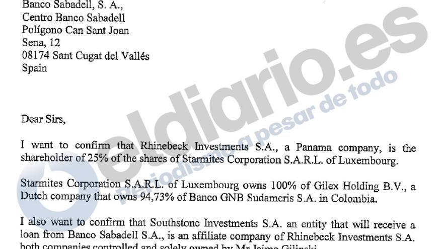 Extracto de la carta de Gilinski a Sabadell.