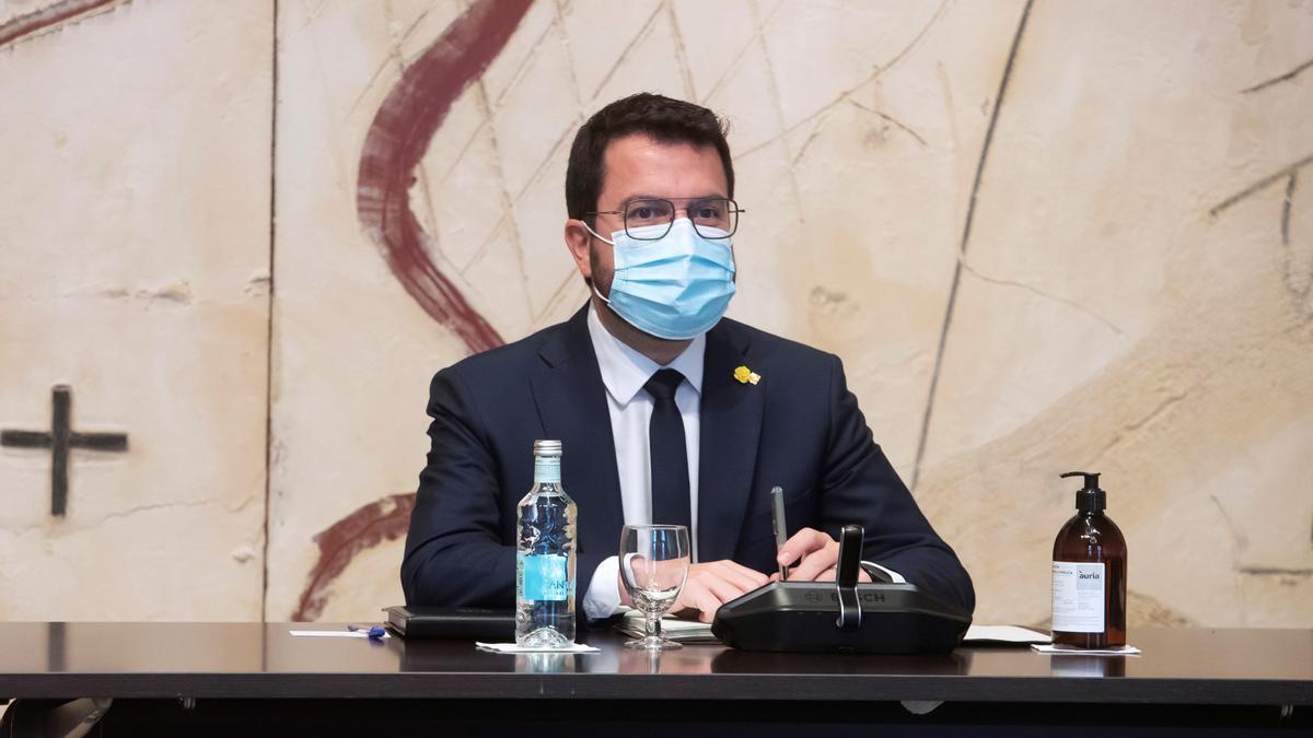 El presidente de la Generalitat, Pere Aragonès, este martes durante la reunión semanal del Govern. EFE/Marta Pérez