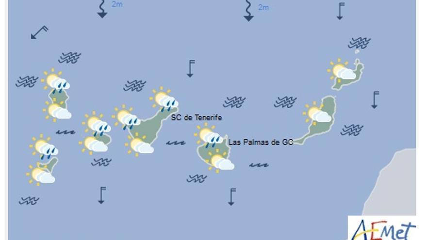 Mapa con la previsión meteorológica para este lunes, 20 de marzo de 2017