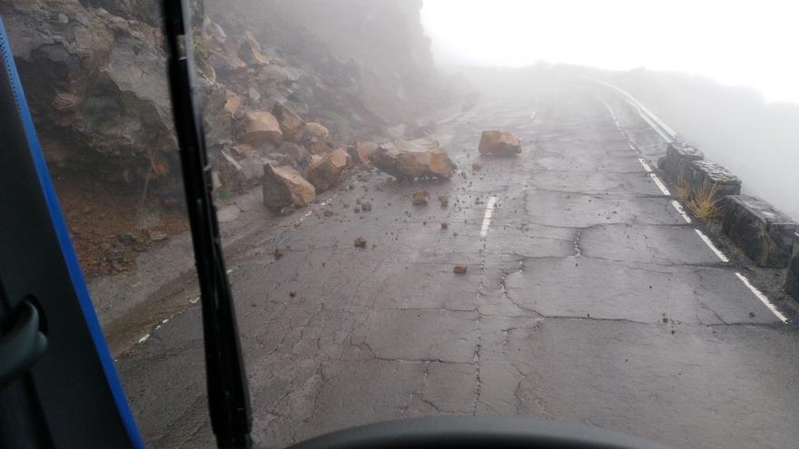 Desprendimiento en la carretera del Roque de Los Muchachos.