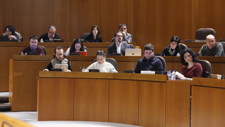 Diputados de Podemos en el Parlamento aragonés.