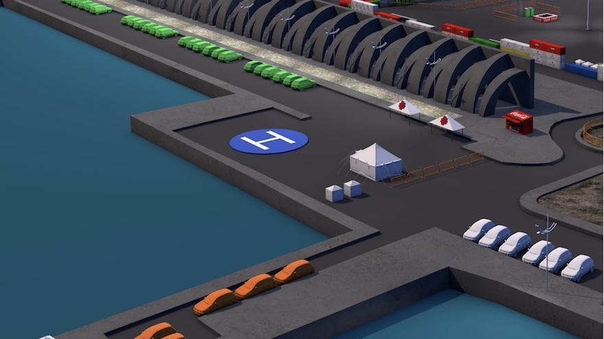 El parking se extiende por los diques intermedios, por la zona polivalente y por la explanada de ribera.