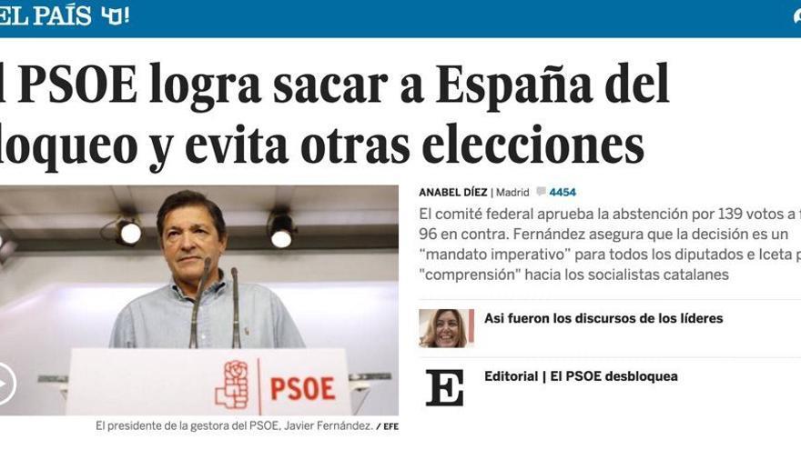 'El PSOE logra sacar a España del bloqueo', titula El País