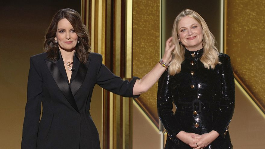 Tina Fey y Amy Poehler en la gala de los Globos de Oro 2021