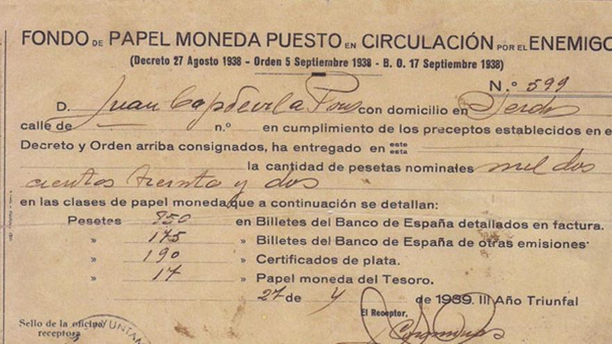 Recibo del franquismo: 'Fondo de papel moneda puesto en circulación por el enemigo'. | APIGF