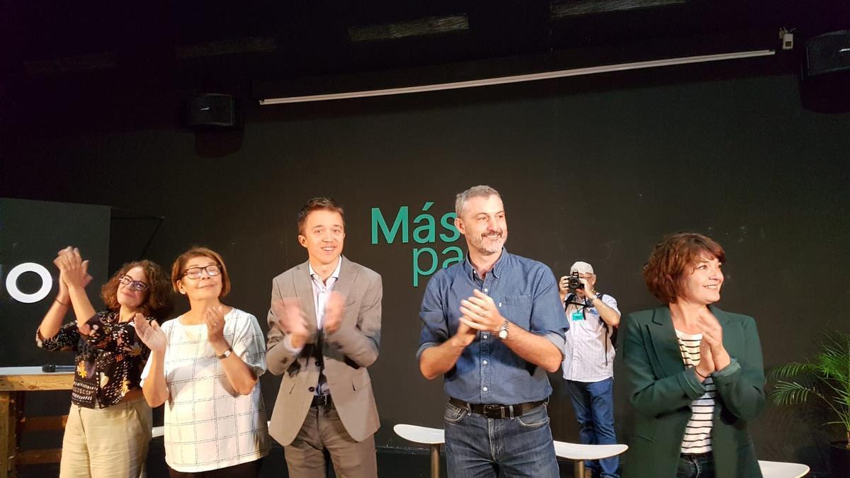 Íñigo Errejón junto con Inés Sabanés, Óscar Urralburu, María Giménez y María López en el auditorio Puertas de Castilla / E.R.