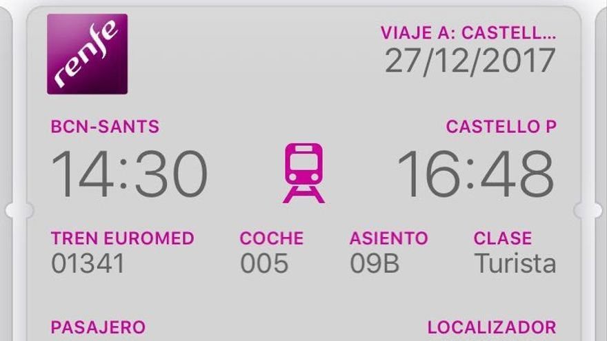 Uno de los billetes del Euromed entre Valencia y Castellón