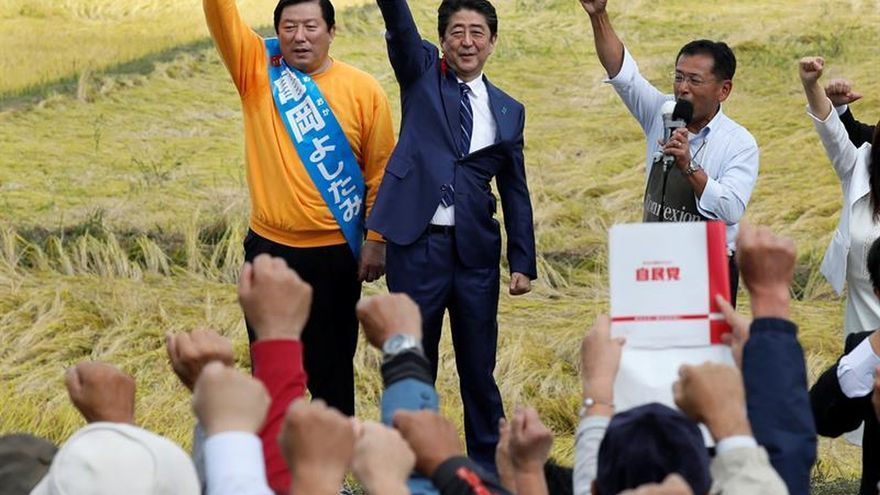 Abe en un mitin en Fukushima, a unos 280 kilómetros al noreste de Tokio.